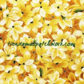 Tela patchwork japonesa Flores Amarilla 3