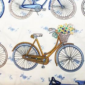 Tela patchwork Vintage retro ciudades bicicletas clásicas lamargaridacreativa