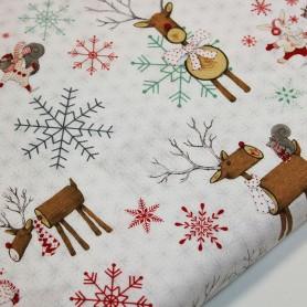 Tela patchwork Navidad Ciervos y animales 3