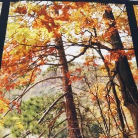Panel patchwork tela estampado digital paisaje otoño
