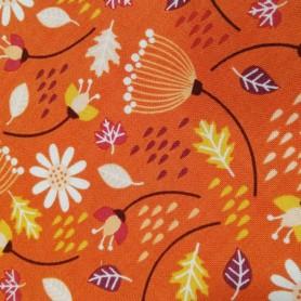 Tela patchwork Flores primavera naranja 2