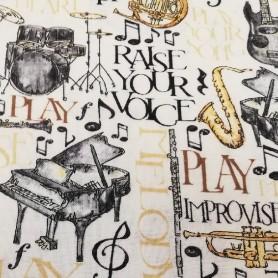 Tela patchwork musica instrumentos musicales 2