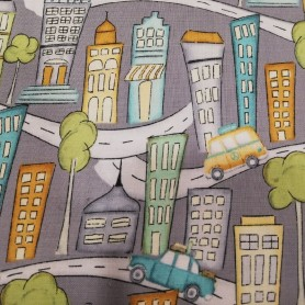 Tela patchwork road trip city camping caravana