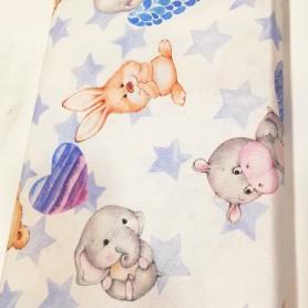 Tela patchwork  infantil zoo baby azul corazones, estrellas, ositos, hipopotamo, conejito y elefantitos