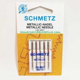 Agujas Schmetz maquina coser plana Metalic 80