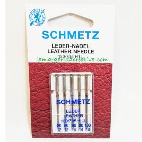 Agujas Schmetz LEADER PIEL máquina coser plana 80-90-100