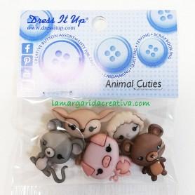 Botones decorativos patchwork Animal Cuties, animalitos bebés: ciervo, oveja, ratón, oso y cerdito