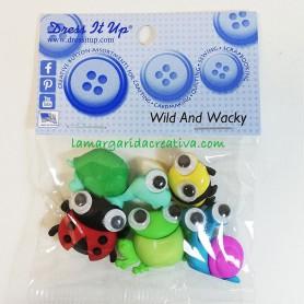 Botones decorativos  infantiles patchwork fauna divertida Wild & Wacky
