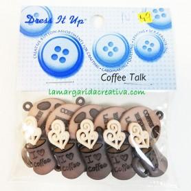 Botones decorativos patchwork Coffe Talk, coffe time, café y galletas