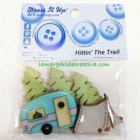 botones decorativos con temática patchwork Camping Caravana, bosque, tienda de campaña y furgolovers