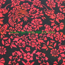 Tela patchwork Batik Flores Rojo y Negro