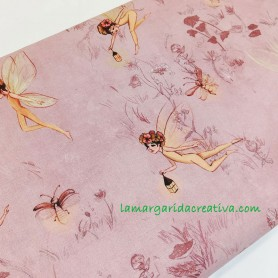 Tela patchwork popelin fairies hadas del bosque 4