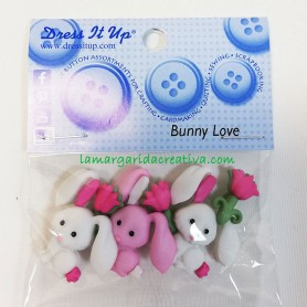 Botones decorativos patchwork infantiles Conejitos Bunny Love