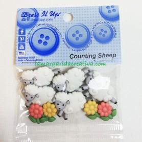 Botones decorativos patchwork Counting sheep Ovejas