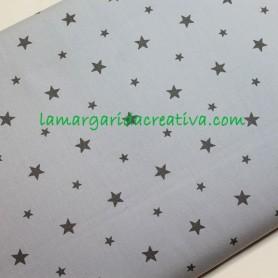 tela de algodón popelín azul empolvado estrellas grises 4