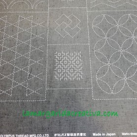Panel patchwork sashiko color gris oscuro tela premarcada japonesa