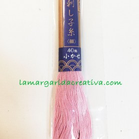 Hilo sashiko japonés rosa empolvado