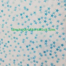 Tela patchwork algodón estrellitas turquesa lamargaridacreativa 2