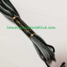 Hilo mouline madeja algodon para diy matizado negro y gris lamargaridacreativa.com 2