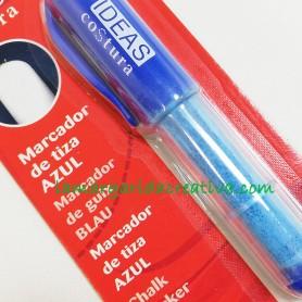 Marcador de tiza natural para costura azul lamargaridacreativa.com