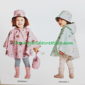 Patrón costura Capa impermeable  gorro y bolsa