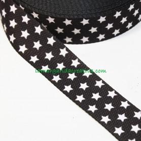 Cinta mochila nylon estampada estrellas gris marengo lamargaridacreativa