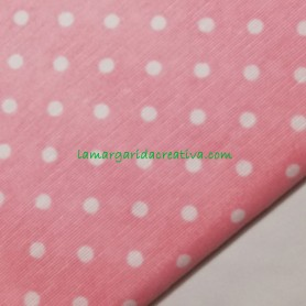 Tela loneta estampada topos blancos fondo rosa lamargaridacreativa 3