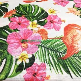 Tejido loneta estampado tropical flamencos, hibiscus y hojas lamargaridacreativa.com