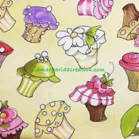 Tela patchwork cupcakes fondo amarillo lorelay lamargaridacreativa 4