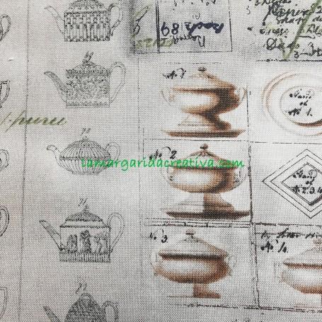 Tela patchwork cocina estampado utensilios envejecida lamargaridacreativa