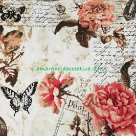 Tela patchwork cocina rosas y tazas lamargaridacreativa