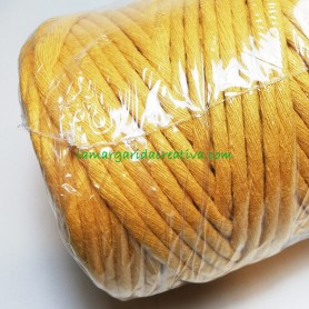 Cordón macramé Evra fibras recicladas ocre lamargaridacreativa 1