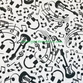 Tela algodón armonia y musica, notas musicales, guitarra, auriculares blanco lamargaridacreativa