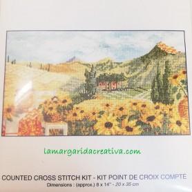 Kit punto cruz   dmc paisaje girasoles lamargaridacreativa