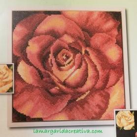 Kit punto cruz flor  Rosa