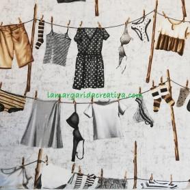 Tela patchwwork estampada ropa tendida vintage lamargaridacreativa 3