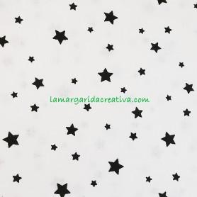 Tela patchwork estrellas negras sobre blanco lamargaridacreativa 4
