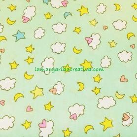 Tela patchwork infantil nubes y estrellas lamargaridacreativa
