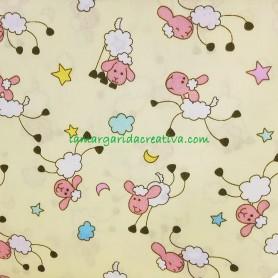 Tela patchwork infantil nubes y ovejitas lamargaridacreativa 4