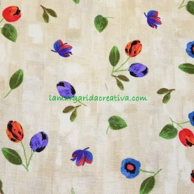 Tela patchwork estampado floral tulipanes lamargaridacreativa 3