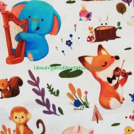 Tela patchwork infantil woodland animales musicos lamargaridacreativa 3