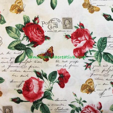 Tela patchwork estampado floral letrero rosas rojas