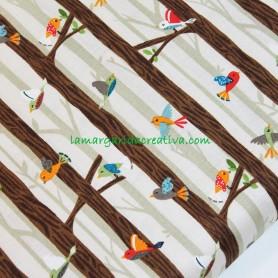 Tela patchwork infantil bosque pajaritos