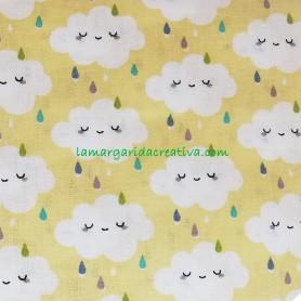 Tela patchwork nimbus nubes y arcoiris amarillo lamargaridacreativa 2