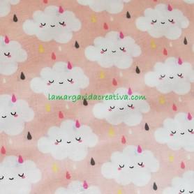 Tela patchwork nimbus nubes y arcoiris rosa lamargaridacreativa 2