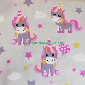 Tela patchwork love unicornios gris lamargaridacreativa 3