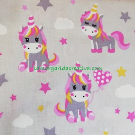 Tela patchwork love unicornios gris lamargaridacreativa 3