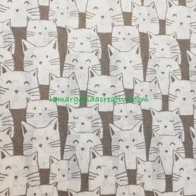 Tela patchwork animales gatos gatunos gris 4