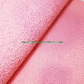 Tejido rizo coral rosa
