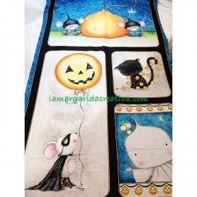 Panel tela patchwork colección halloween calabaza, ratón antifaz y gatos 2